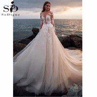 Illusion Full Sleeves Wedding Dress Luxury Button Backless Lace Ball Gown Wedding Gowns Customized Bridal Dress Robe De Mariage