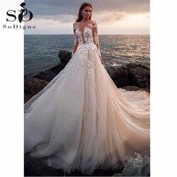 Illusion Voll Ärmeln Hochzeit Kleid Luxus Taste Backless Spitze Ballkleid Hochzeit Kleider Angepasst Braut Kleid Robe De Mariage
