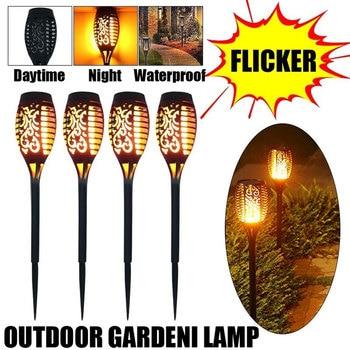цена 4Pcs 96 LED Solar Flame Lamp Flickering Waterproof Garden Flicker Lights Landscape Decoration Lawn Light Torch Outdoor Spotlight онлайн в 2017 году