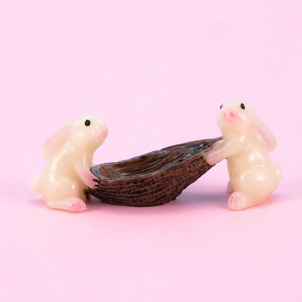 1 pc Mini เรซิ่นน่ารักพายเรือกระต่าย Micro ภูมิทัศน์สวน Fairy Miniature เครื่องประดับตกแต่งสัตว์ของเล่น