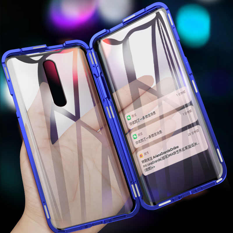 Magnetic adsorption Metal Case For redmi k20 pro Note 7 Front Back Tempered Glass Full Body Cover For xiaomi Mi 9 SE CC9 6X A2