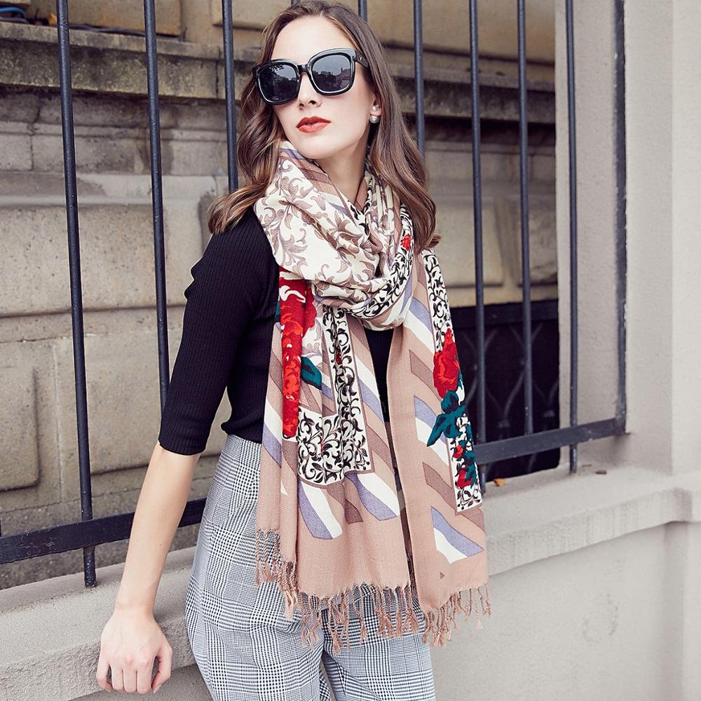Image 4 - Wool Women Scarves Stoles Elegant Carf Warm Shawl Bandana Scarf  Luxury Brand Muslim Hijab Beach Blanket Face Shield FoulardWomens  Scarves