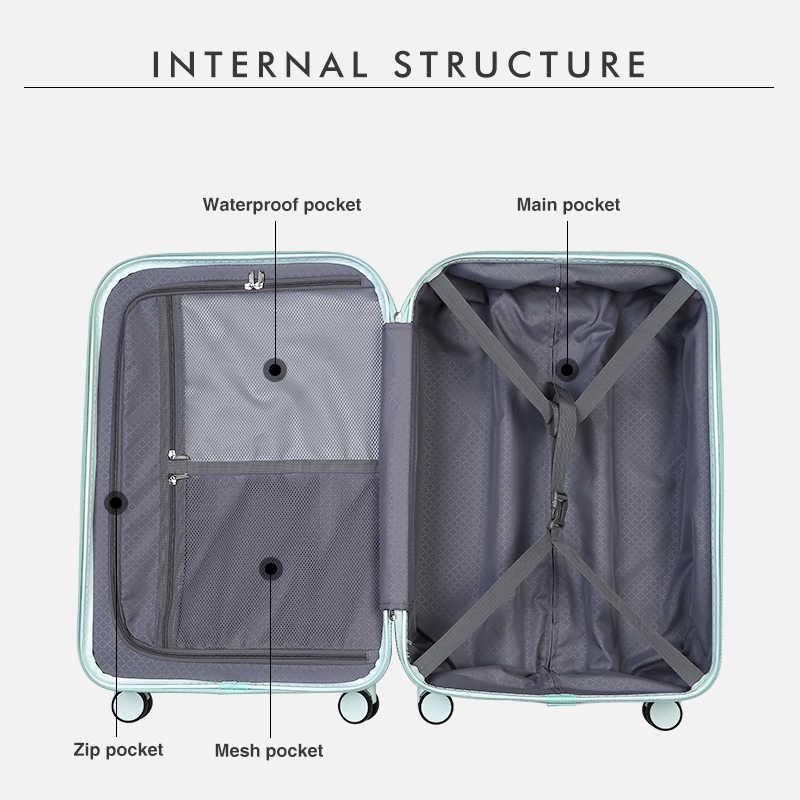ミクシィスマートスーツケース USB 充電旅行の荷物の男性女性トロリーケース PC ローリング荷物スピナーホイール Tsa ロック送料カバー