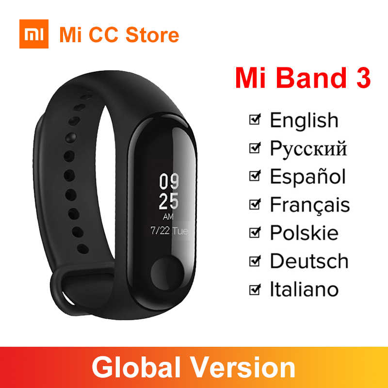 In Lager Globale Version Xiaomi Mi Band 3 Armband Fitness tracker OLED Bildschirm Herz Rate Zeit Smart band 5 farbe armband