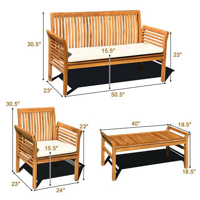4 PCS Outdoor Wooden Furniture Set  6