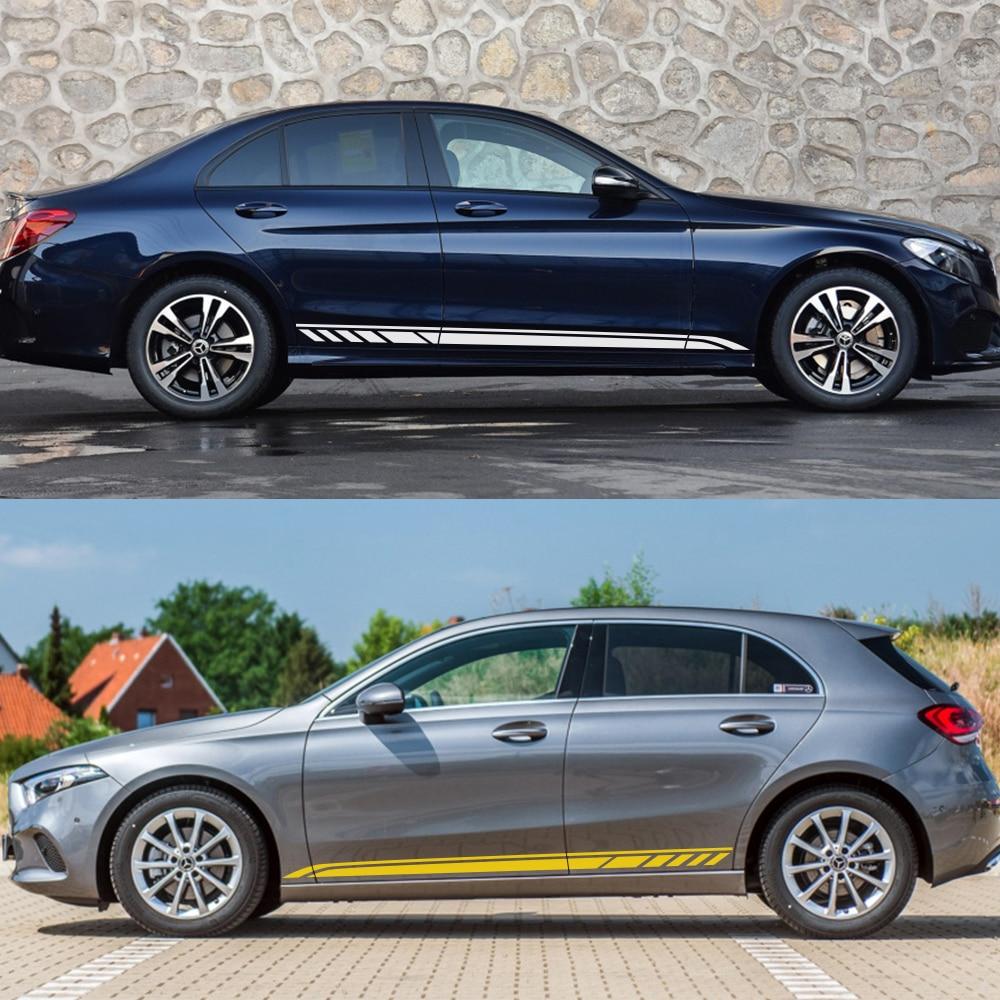 Car Side Stripe Stickers For Mercedes Benz W205 W204 W203 W212 W124 W108 W126 W176 W211 W168 W210 W177 Vinyl Aut Car Accessories