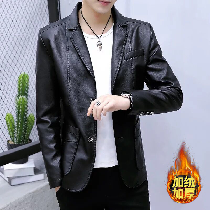 Mens Autumn Winter Fleece Lined Blazer Casual Hombre Slim Fit Pu Leather Jackets For Men Warm Velvet Blazers Plus Size 5XL 6XL