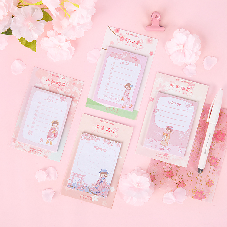 Cherry Blossoms Girl Travel Series Sticky Notes Memo Pad Diary Japanese Stationary Scrapbook Decorative Planner N Times Sticky