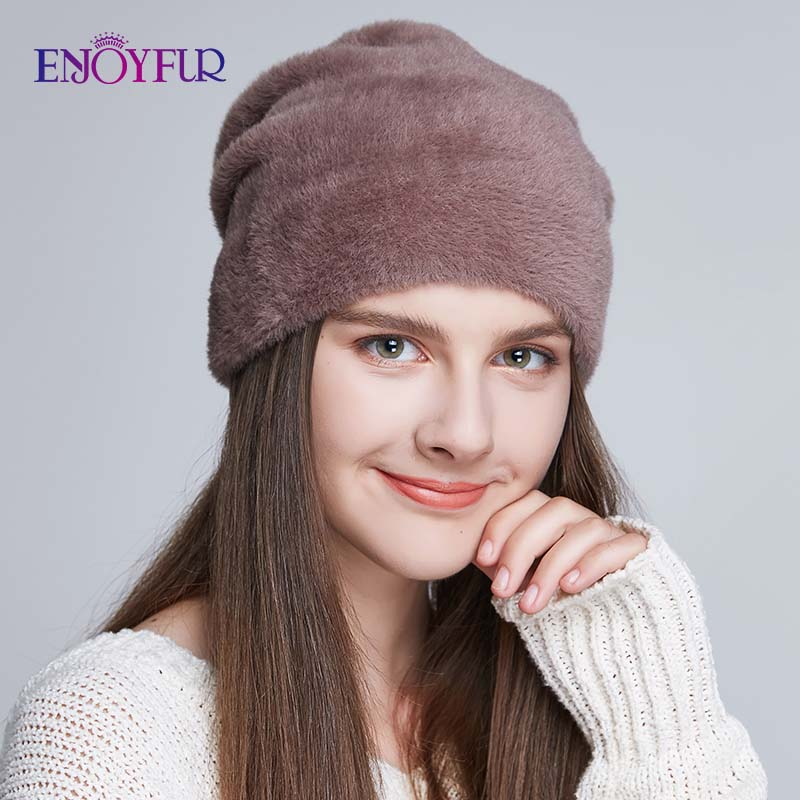ENJOYFUR Women Hats For Winter Imitate Wool Thick Caps For Female Solid Colors New Brand Skulls Beanies