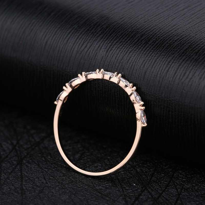 MIGGA simple rangée Marquise coupe cubique Zircon Bague couleur or Rose CZ pierres Bague en cristal pour les femmes Bague bijoux