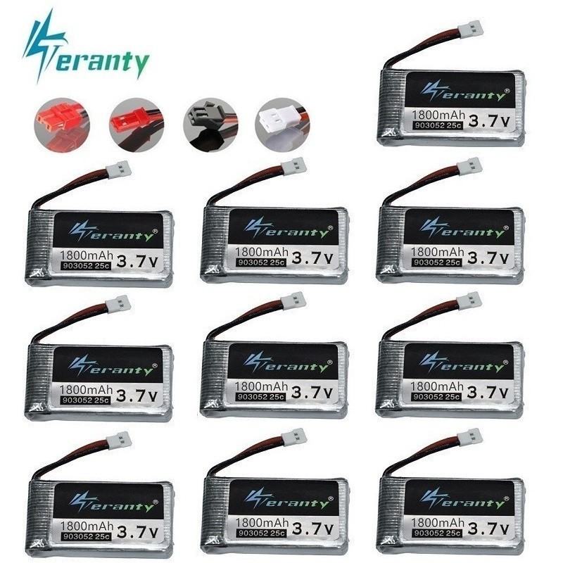3.7v 1800mAh Rechargeable Battery For KY601S SYMA X5SW X5 M18 H5P 903052 3.7v Lipo Battery  XH2.54 Plug 1pcs To 10PCS