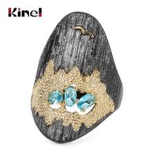 Kinel Vintage Braut Hochzeit Ring Punk Gun Schwarz Mosaik Blau Zirkon Seagull Sea Rock engagement Ring Für Frauen Drop Verschiffen