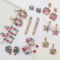Pauli manfi 2019 nova moda colorido strass brincos feminino boêmio geométrica balançar brinco festa de noivado charme jóias