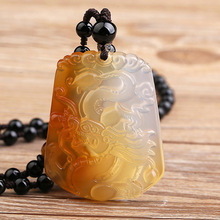 Drop Shipping Natural Chalcedony Dragon Pendant Necklace Lucky Amulet Lovers For Men And Women Gift