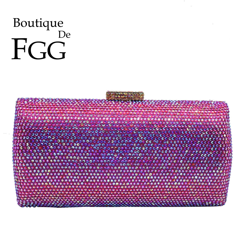 Boutique De FGG Bling Women Fuchsia Evening Bags And Clutches Ladies Small Crystal Purses And Handbags Wedding Party DInner Bag