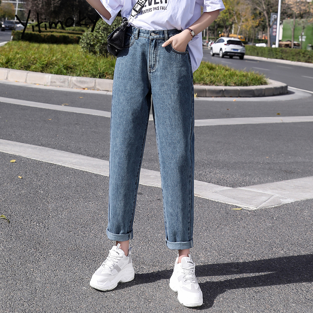 2020 Wide Waist High Waist Jeans Woman Plus Size Mom Boyfriend Jeans For Women Washed Vintage Coated Harem Pants High Street New