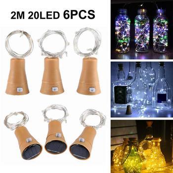 6 шт в форме винной бутылки на солнечной батарее светильник s 20 LED Солнечный нить с пробкой светильник Медный провод Фея светильник для праздника для рождественской вечеринки Свадебный декор