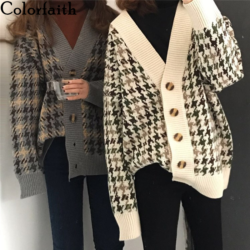Colorfaith New 2021 Autumn Winter Women's Sweaters Buttons Cardigans Plaid Harajuku Oversize Korean Knitted Lady Tops SWC1203JX