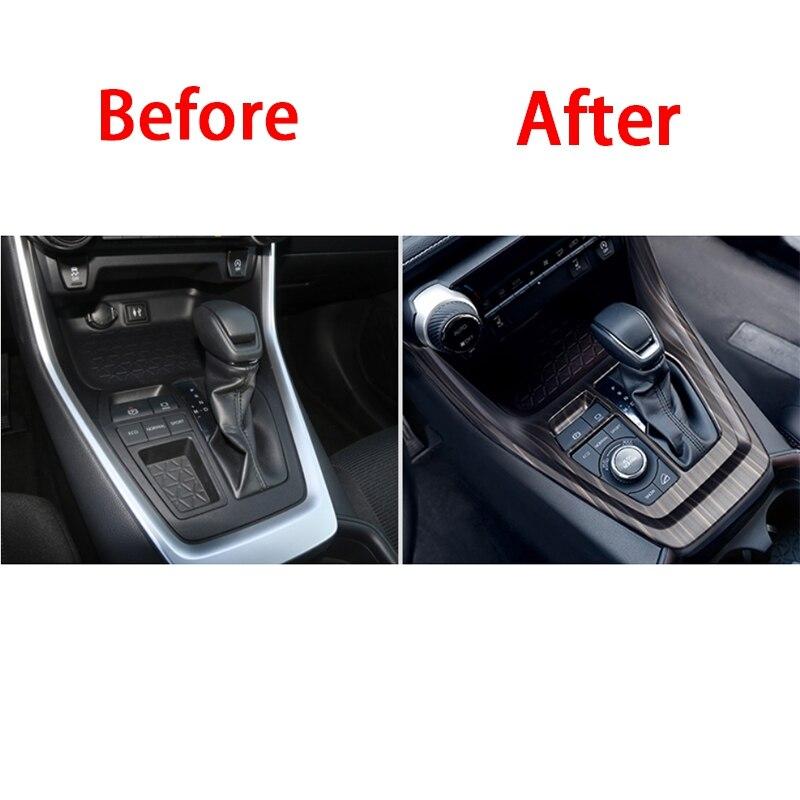 For Toyota RAV4 2020 ABS wood grain inner car gear shift panel trim 1pcs