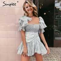 Simplee Square neck ruffle sleeve puff dress Sexy polka dot print dresses women Boho retro hippie short party dresses vestidos