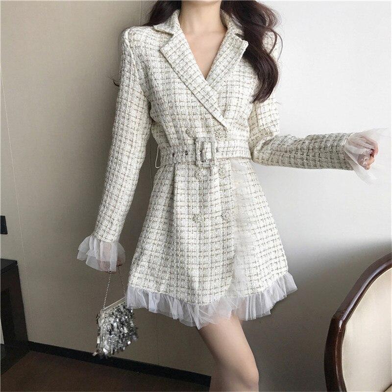 Woman Long Style Woolen Plaid Blazer Free Belt Mesh Patchwork Slim Black Blazers Female Elegant Coats For Women Balmain Blazer