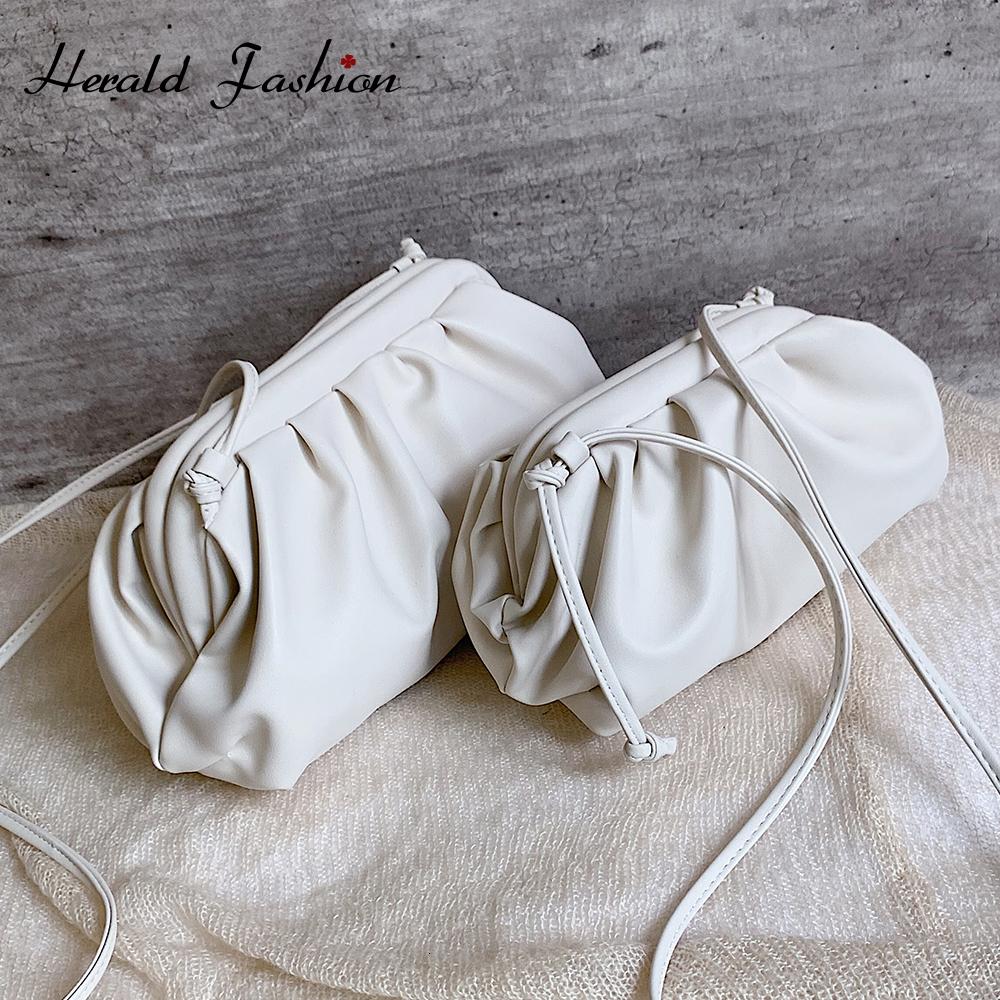 Herald Fashion Lady Clutch Evening Party Purse Bag Women Big Ruched Pillow Bag Leather Pouch Handbag Bag White Black Green 2019
