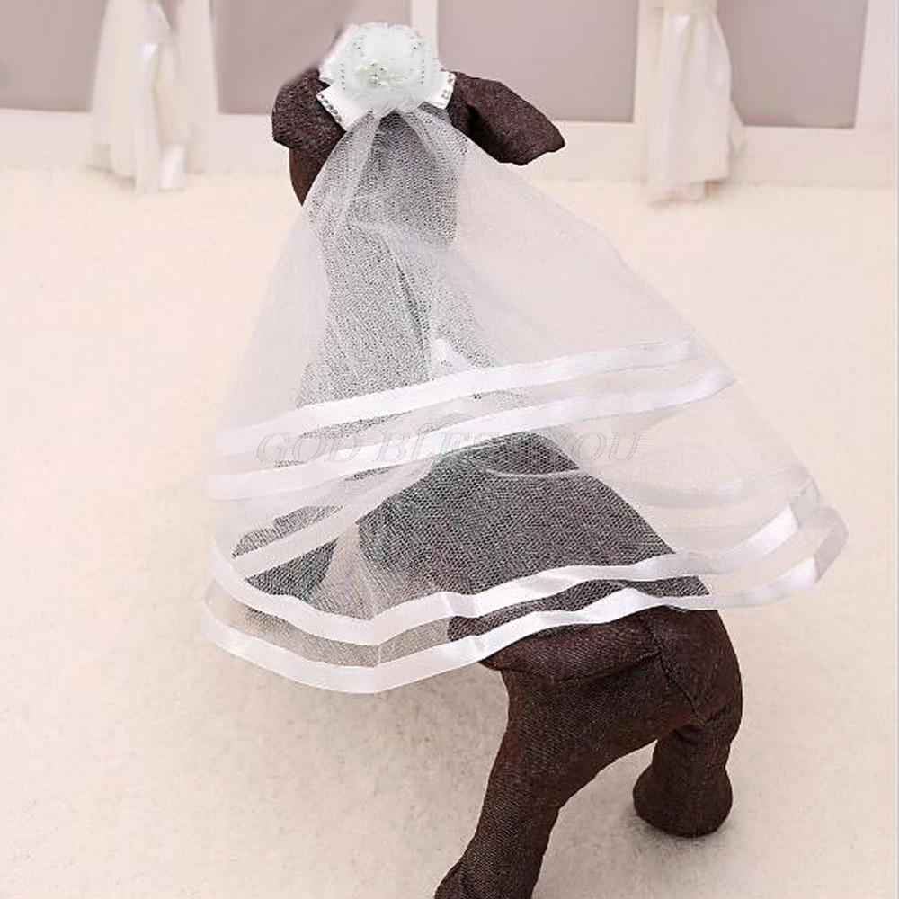Classic Wedding Veil Bridal Costume Boutique Puppy Cat font b Pets b font Accessory Grooming Drop