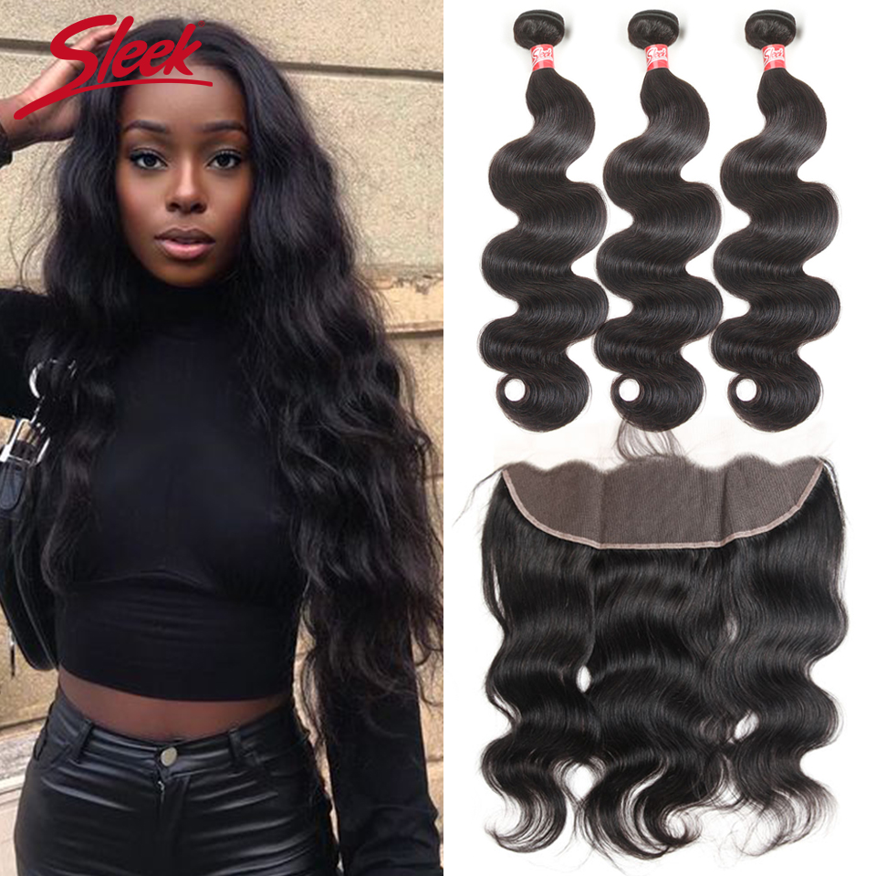 Sleek Malaysian Bundles With Frontal Body Wave Lace Frontal With Bundles 8-28 Non-Remy Human Hair Weave 3 Bundles With Closure
