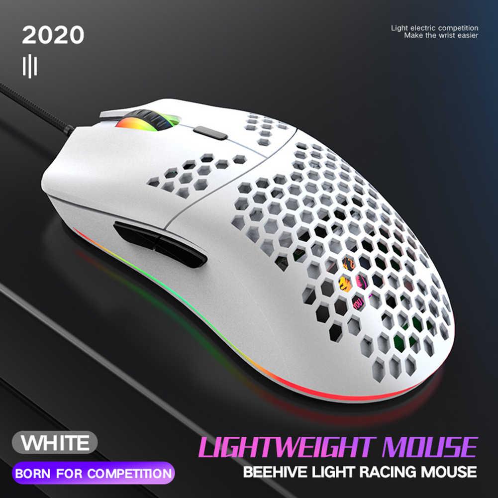 69G Honeycomb Shell ligero con 6400 DPI color rojo ratones USB programables de 6 botones para PC Gamers y usuarios de Xbox y PS4 ZIYOULANG Rat/ón para juegos con cable