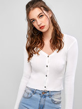 все цены на ZAFUL Ribbed Button Up Knit Cardigan Women V Neck Knitting Sweaters Slim Short Cotton Elastic Spring Autumn Sweater Top Female онлайн