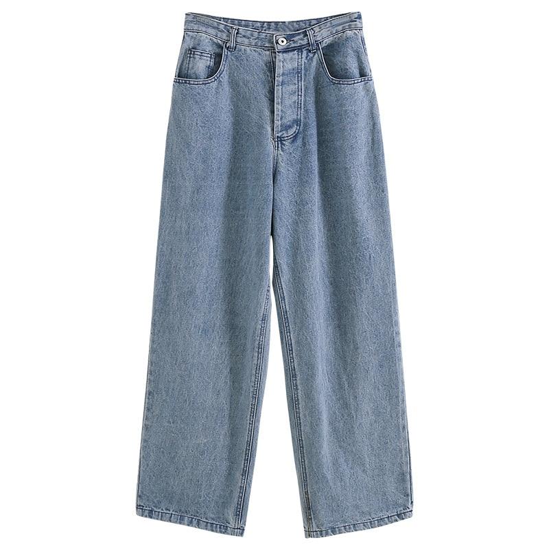Denim Pants Chic High Waist Women Retro Harajuku Wide Leg Zipper Fly Akle-Length Jeans Pants Push Up Flare Trousers Streetwear 5