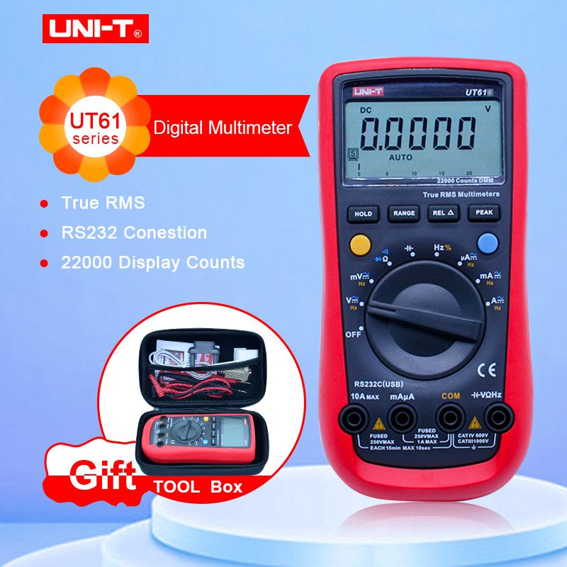 UNI-T UT61E Digital Multimeter True rms Auto Range UT61A B C D AC DC Meter Data Hold Multimetre with EVA box