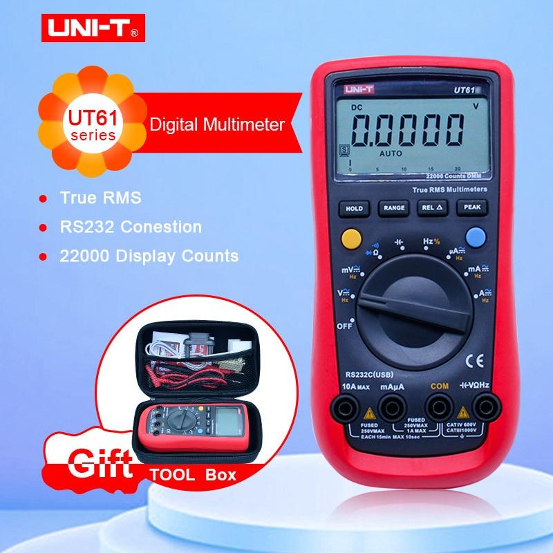 Цифровой мультиметр UT61E, истинный rms Автоматический диапазон UT61A/B/C/D AC DC измеритель удержания данных многометровый с коробкой EVA