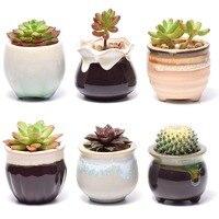 Succulent Pots 6 Pack Mini Ceramic Pots Small Flower Planter, Bonsai Cactus Pot with Drainage Hole Perfect Decoration Gift