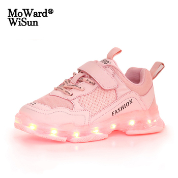 Size 25-37 Children Glowing Casual Shoes Girls Led Light Up Sneakers Unisex Luminous with Sole