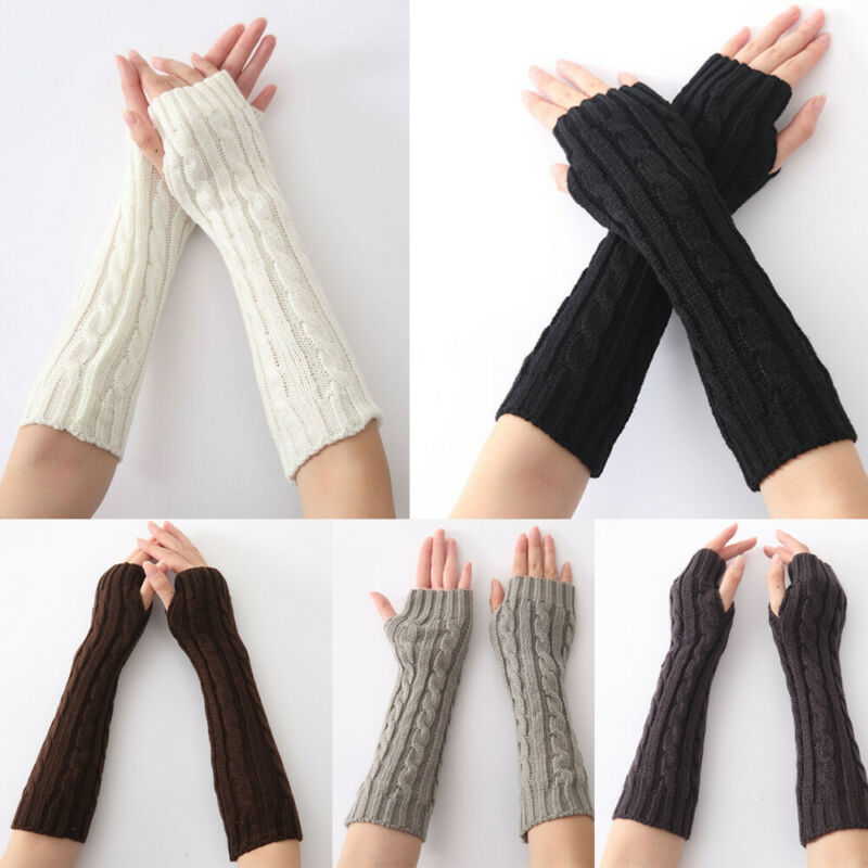 Women's Knitted Gloves Winter Warm Elbow Arm Knitted Long Fingerless Gloves Solid Color Mitten Casual Female Long Knitted Gloves
