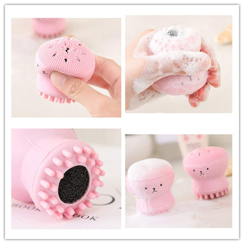 2019 Cleaning Face Brush Pink Cute Facial Cleansing Animal Octopus Brush Exfoliator Cute Silica Gel Massage Deep Skin Care Tools