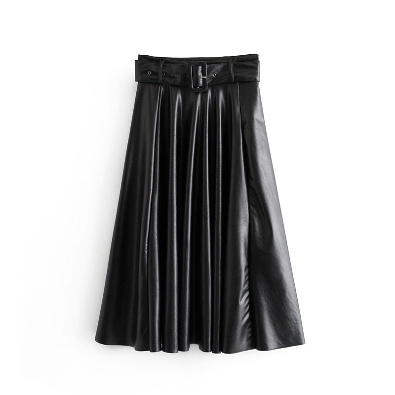 Image 3 - 2019 New Fashion Women Autumn Winter PU Faux Leather Skirts Lady High Waist A line Midi Mid calf Maxi Long Black Skirt With Belt-in Skirts from Women's Clothing
