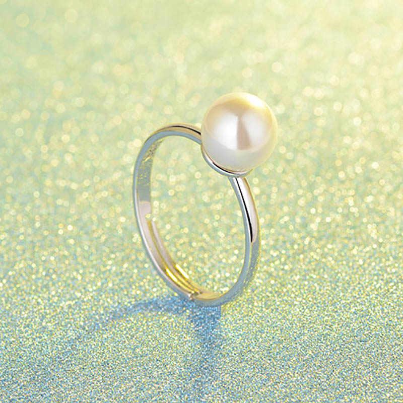 Bague Ringen 925 แหวนเงินผู้หญิงแฟชั่นเครื่องประดับรอบรูปร่างน้ำจืดไข่มุกหมั้นงานแต่งงานแหวนเครื่องประดับของขวัญ