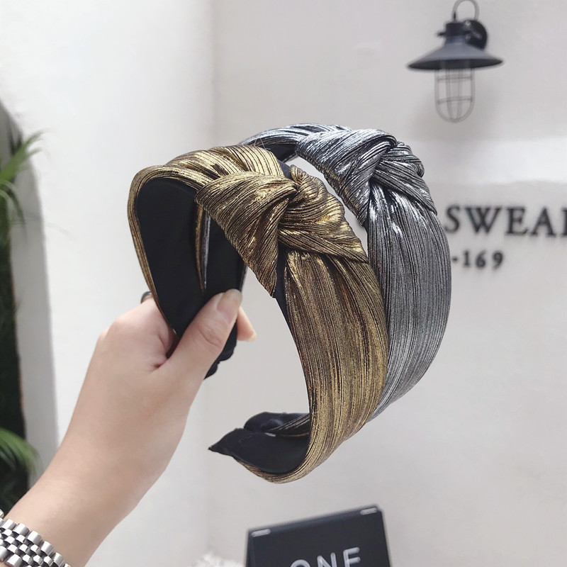 Gold Glitter Knotted Hairband For Women Shiny Sequin Cross Knot Hair Hoop Headband Bezel Hair Accessories
