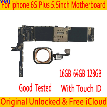 For iphone 6S Plus 5.5inch Original unlocked Motherboard 16GB 64GB 128GB Clean iCloud for iphone 6S Plus Mainboard with Touch ID