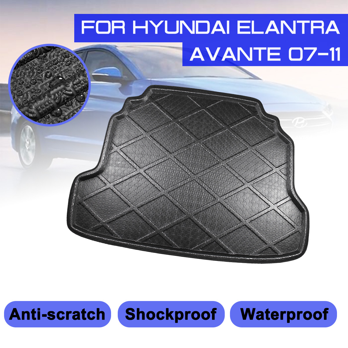 For Hyundai Elantra Avante 2007-2011 Car Rear Trunk Boot Mat Waterproof Floor Mats Carpet Anti Mud Tray Cargo Liner