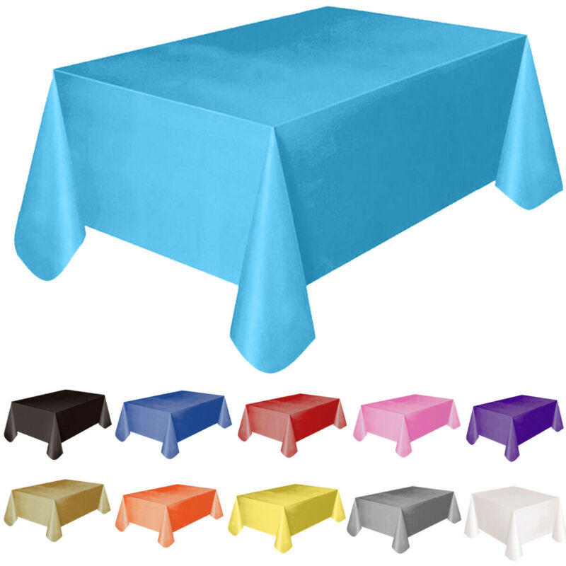 Solid Color Disposable Plastic Tablecloths//Table Covers 1, Black Rectangular