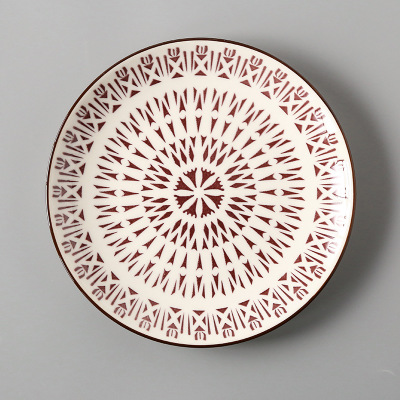 Креативный японский стиль 8 керамическая тарелка дюймовая посуда для завтрака говядины десертное блюдо для закусок простое мелкое блюдо домашнее блюдо для стейков - Цвет: 14