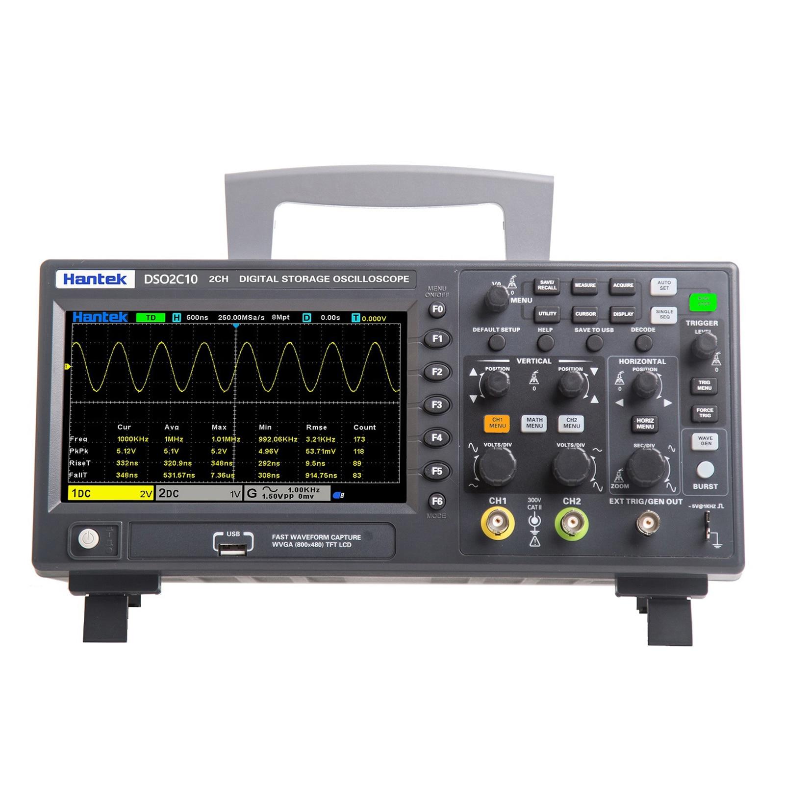 DSO2C10 800*480 пикселей 7 дюймов TFT ЖК-дисплей Экран 2 Каналы 100 МГц полоса Ширина 1GSa/s частота дискретизации осциллографа многоцелевой инструмент