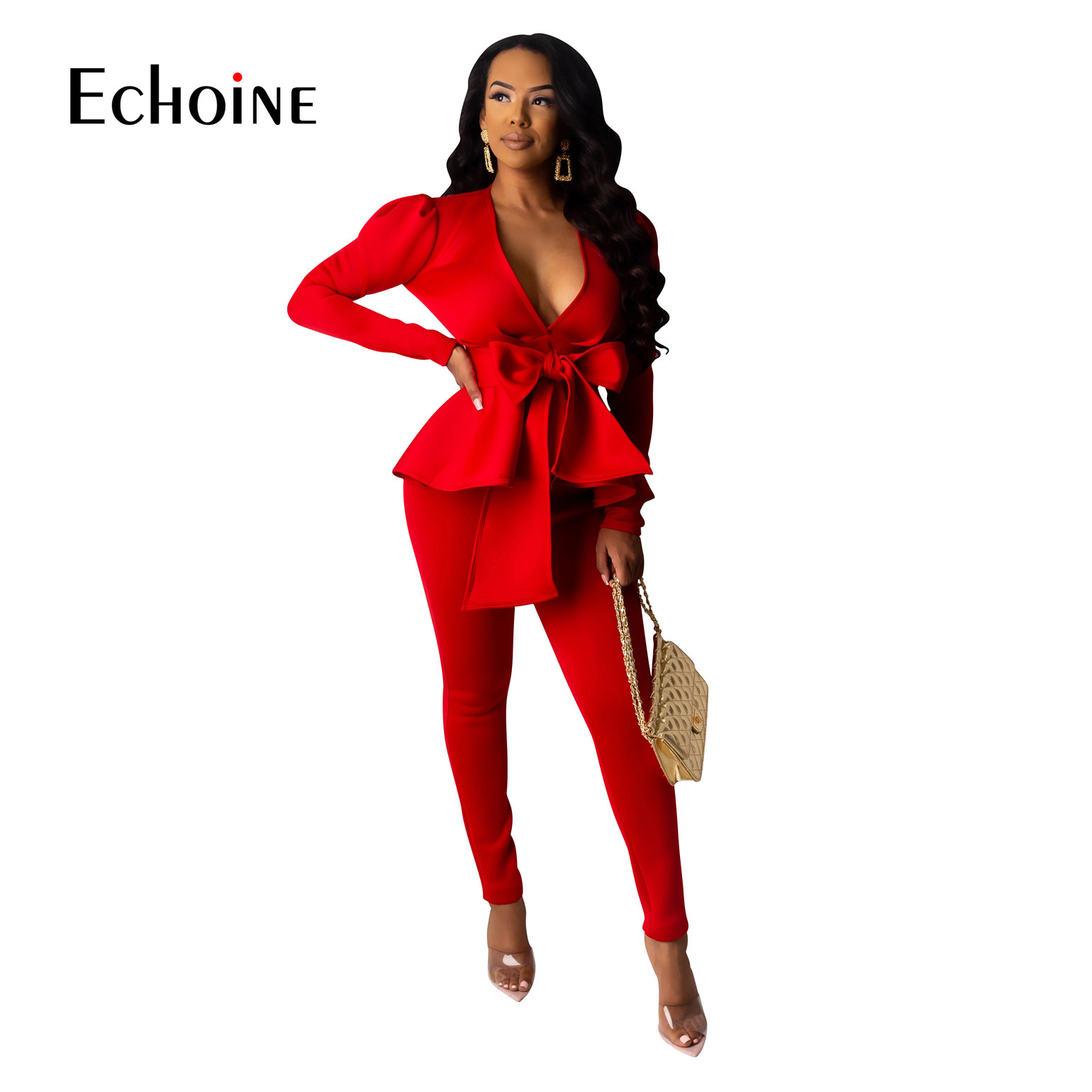 Two Piece Set White Red Baclk Blazer Women Work Wear Full Sleeve Ruffles Pencil Pants Suit Spring Office Lady Outfits Uniform