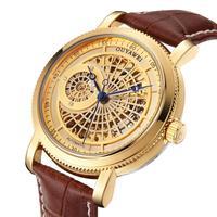 Gold Automatic Mechanical Watch Men Skeleton Watches Bracelet Wristwatch Luxury Brand Mechanical Clock Male Self winding