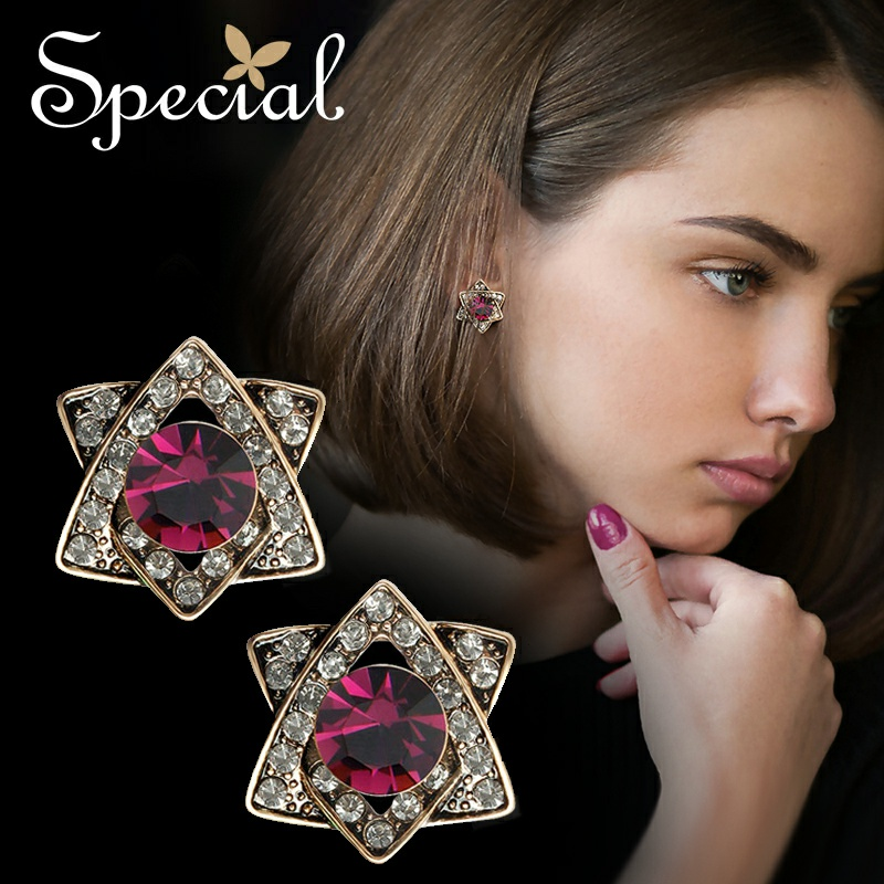 Special Brand Fashion Rhinestones Stud Earrings Star Vintage European Style Earrings Jewelry 2017 Gifts for Women S1643E in Stud Earrings from Jewelry Accessories