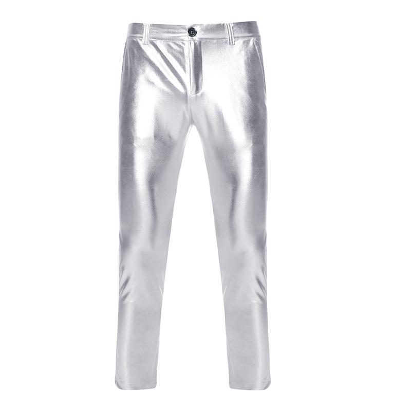 Mens PU Faux Motorcycle Pants Straight Leg Trousers 2019 Shiny Silver Coated Metallic Pants Men Nightclub Stage Costume Homme