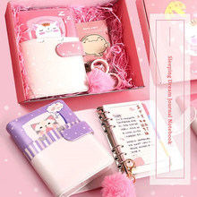 New Arrival Cute Kawaii Dream Cat Notebook Stationery Loose-leaf Spiral Traveler's Notepad 6 Ring PU Binder Diary Journals A5 A6